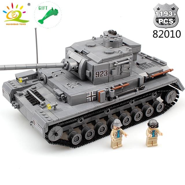 HUIQIBAO TOYS 1193pcs Military Panzerkampfwagen IV Building Blocks German WW2 Tank F2 Soldier Set For Children Legorreta Bricks
