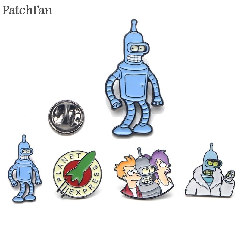 Patchfan Futurama Cartoon Zinc Enamel pins Trendy medal insignia para backpack shirt clothes brooches badges for men women A1502