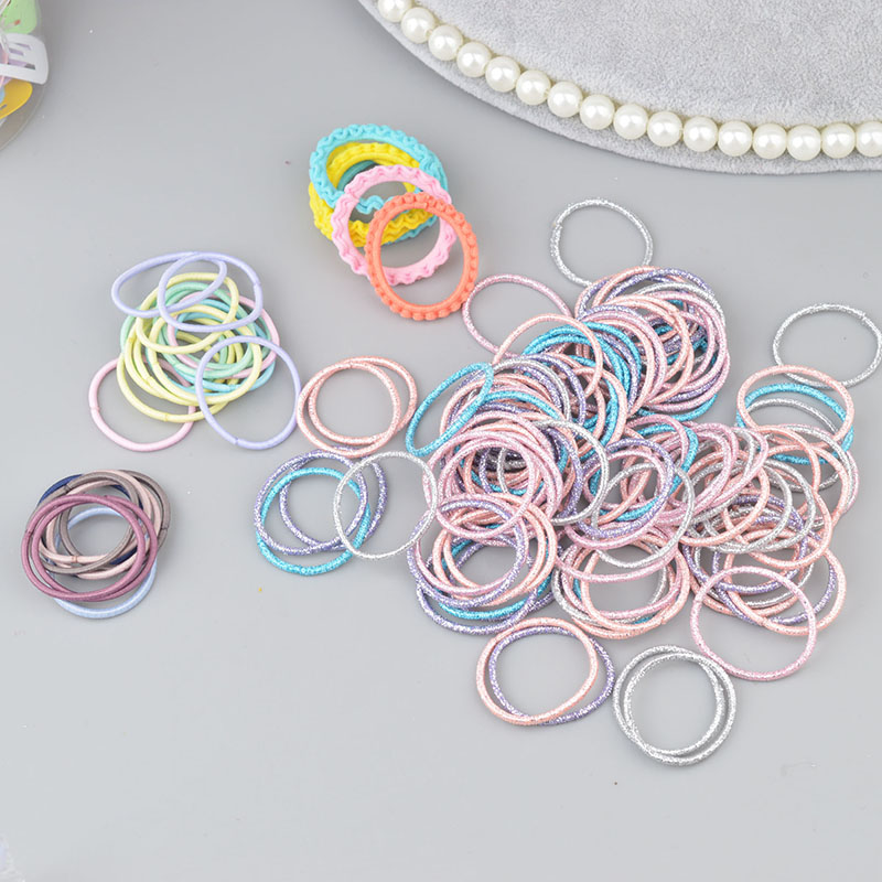100 Pieces Mini Hair Band Fashion Candy Color Rubber Ties Ring Elastic Hair Rope Ponytail Holder For Kids Hair Accessories A342(China)