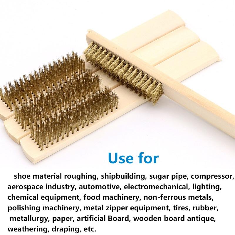MAXMAN Brass Wire Brush Wood Handle Soft Brass Bristle Brush Wood Handle Metal Brush