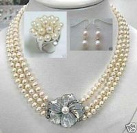 Free shipping hot sale Women Bridal Wedding Jewelry >>Graceful Natural Pearl Set White Akoya Pearl Necklace Ring Earrings 7 8mm