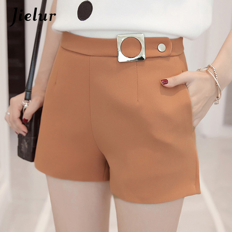 Jielur Korean Pockets Leisure Office Lady Shorts Women Summer Chic All-match Solid Color Shorts S-XL High Waist Feminino Bottoms