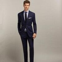 Jacket Pant Dark Navy Single Breasted Business Suits Wedding Suits For Men Groom Suits Groomsmen