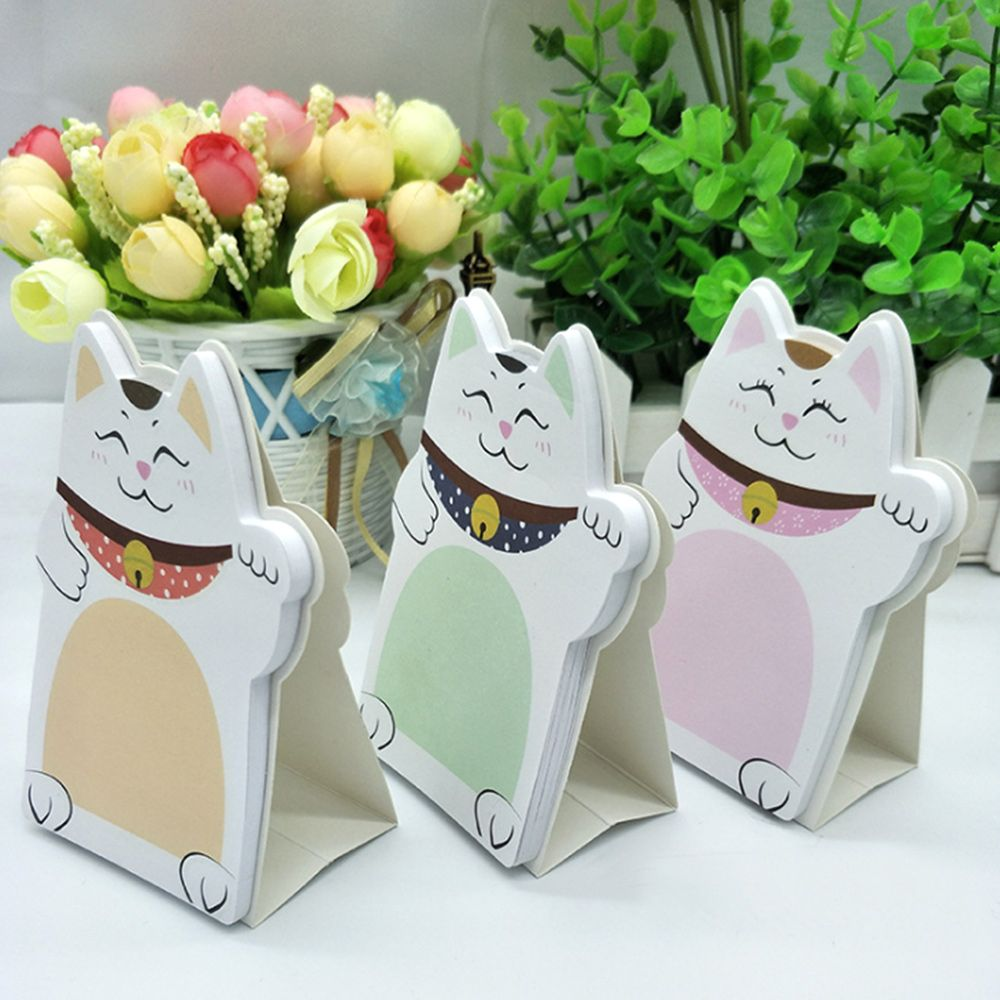 Creative Stationery Cute Lucky Fortune Cat Memo Desktop Sticky Note Book Special Message Notice Posted Sticker School Supplies