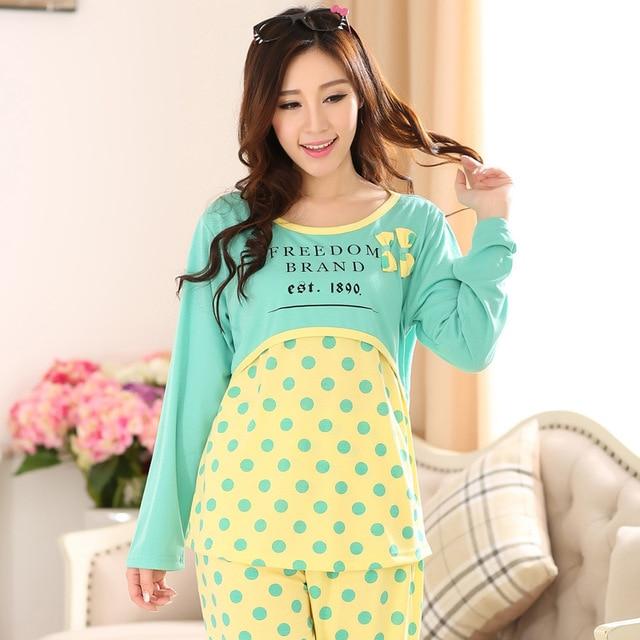 Spring Autumn Nursing Nightgown Long Sleeved Breastfeeding Pajamas ...