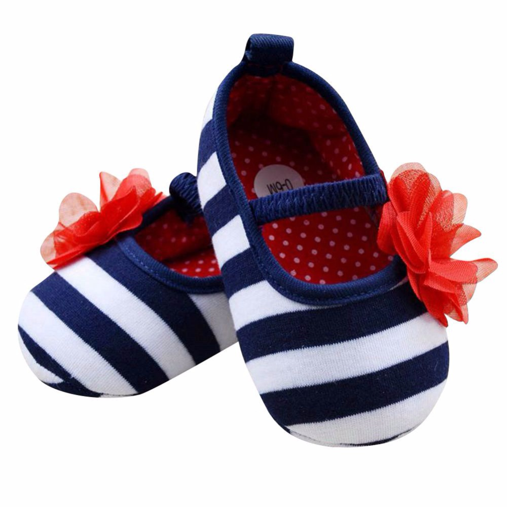 Newborn Baby Girls Fashion Striped Flower Crib Shoes Soft Sole Baby Girls Shoes Kids Girls First Walkers