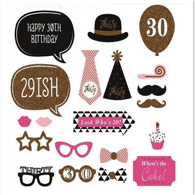 20Pcs Glasses Hats Mustache Creative PhotoBooth Props 30s Woman Birthday Theme Party Decoration Christmas New Year Event Favors