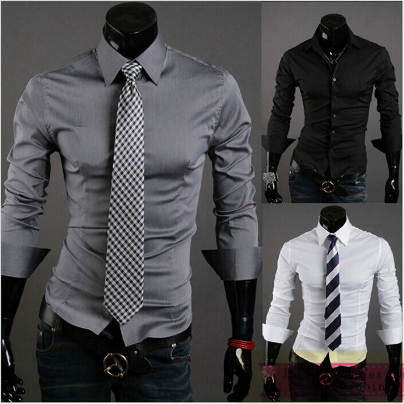 Mens Shirts Fashion 2017 Spring Hot Solid Color Men Office Shirt Casual Slim Fit Long Sleeve Dress In From S