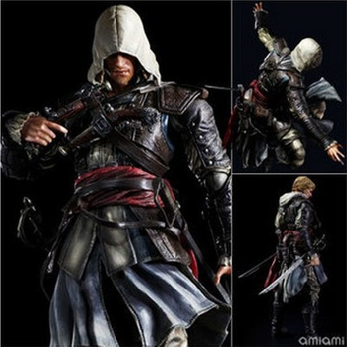 27CM Play Arts KAI Assassin's Creed IV Black Flag Assassins Creed 4 Edward James Kenway PVC Action Figure Collectible Model Toy chic beige band cool summer lady style straw hat for women