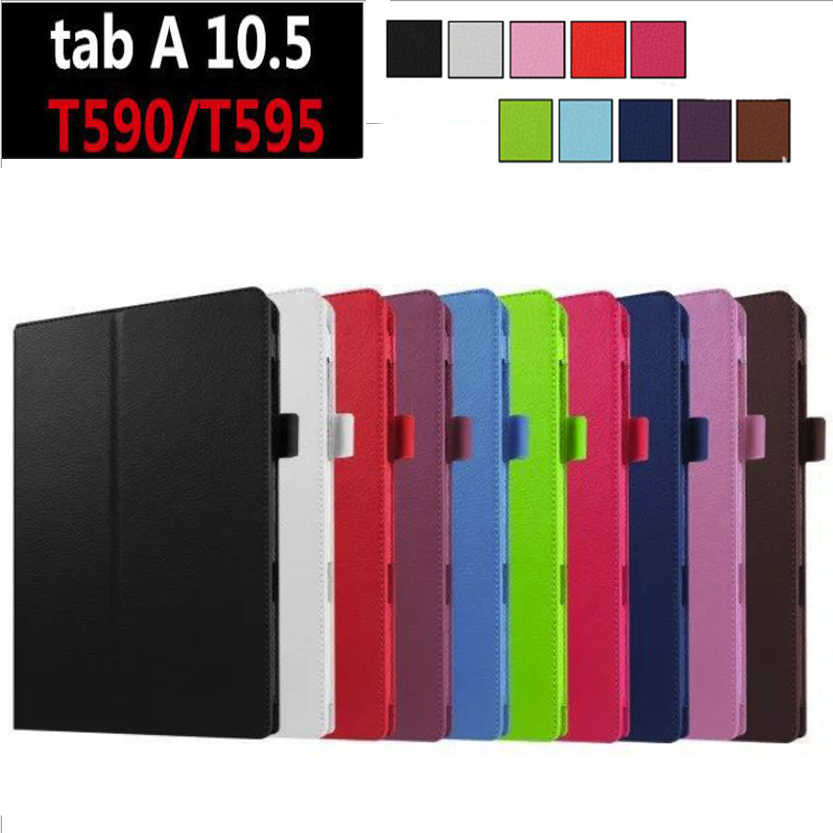 Lengkeng Style Leather Folding Stand Flip Penutup Tab 10.5 Inci Tablet Case untuk Samsung Galaxy Tab 10.5 T590 t595 SM-T590 Cover