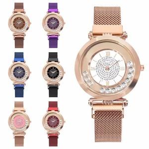 Image 5 - ホットファッション女性マグネットバックルフルダイヤモンドの腕時計高級レディースステンレス鋼クォーツラインストーン腕時計時計レロジオ Feminino
