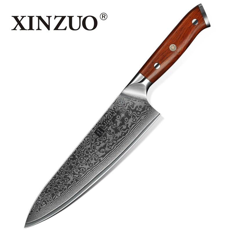 """XINZUO 8.5 """"cale nóż szefa kuchni damaszek nóż kuchenny 60 HRC najwyższej jakości Gyuto japoński stali nierdzewnej z róża, drewno, uchwyt w Noże kuchenne od Dom i ogród na  Grupa 1"""