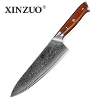 XINZUO 8.5 inches Chef Knife Damascus Kitchen Knife 60 HRC Top Quality Gyuto Knives Japanese Steel with Rose Wood Handle