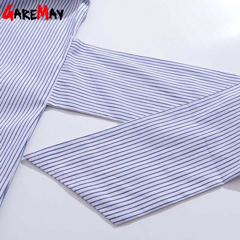 Skjorta klänning kvinnor randig mantel femme snörning tunika - Damkläder - Foto 6