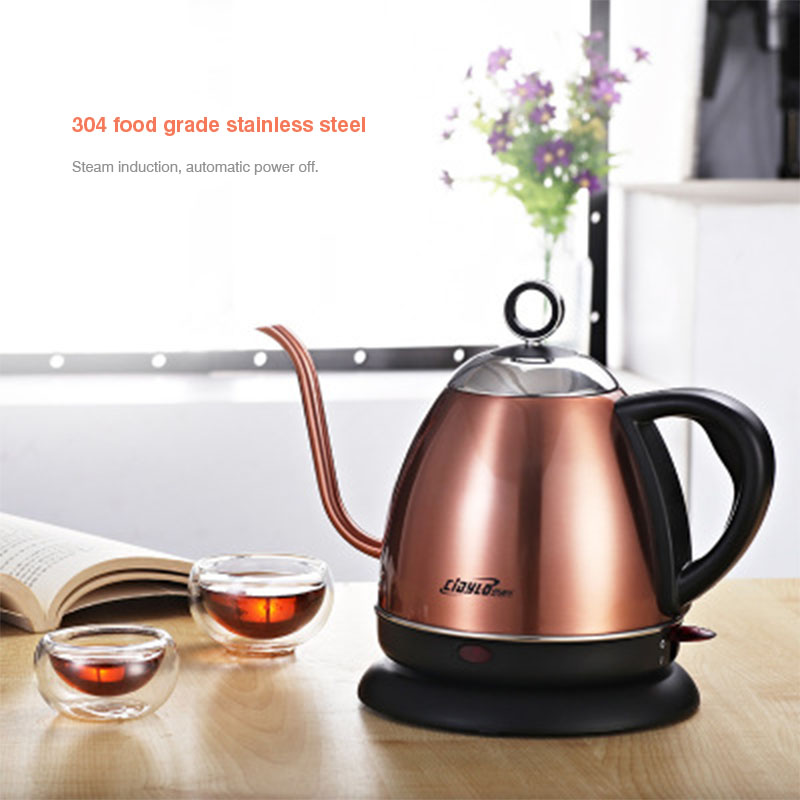 1L Electric Kettle Household Stainless Steel Slender mouth Handheld Instant Heating Electric Water Kettle 220V