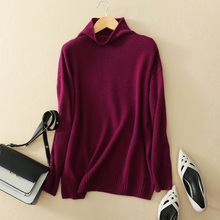 5 colors 100% cashmere sweaters winter and autumn thick pullovers turn-down collar long sleeve women clothings