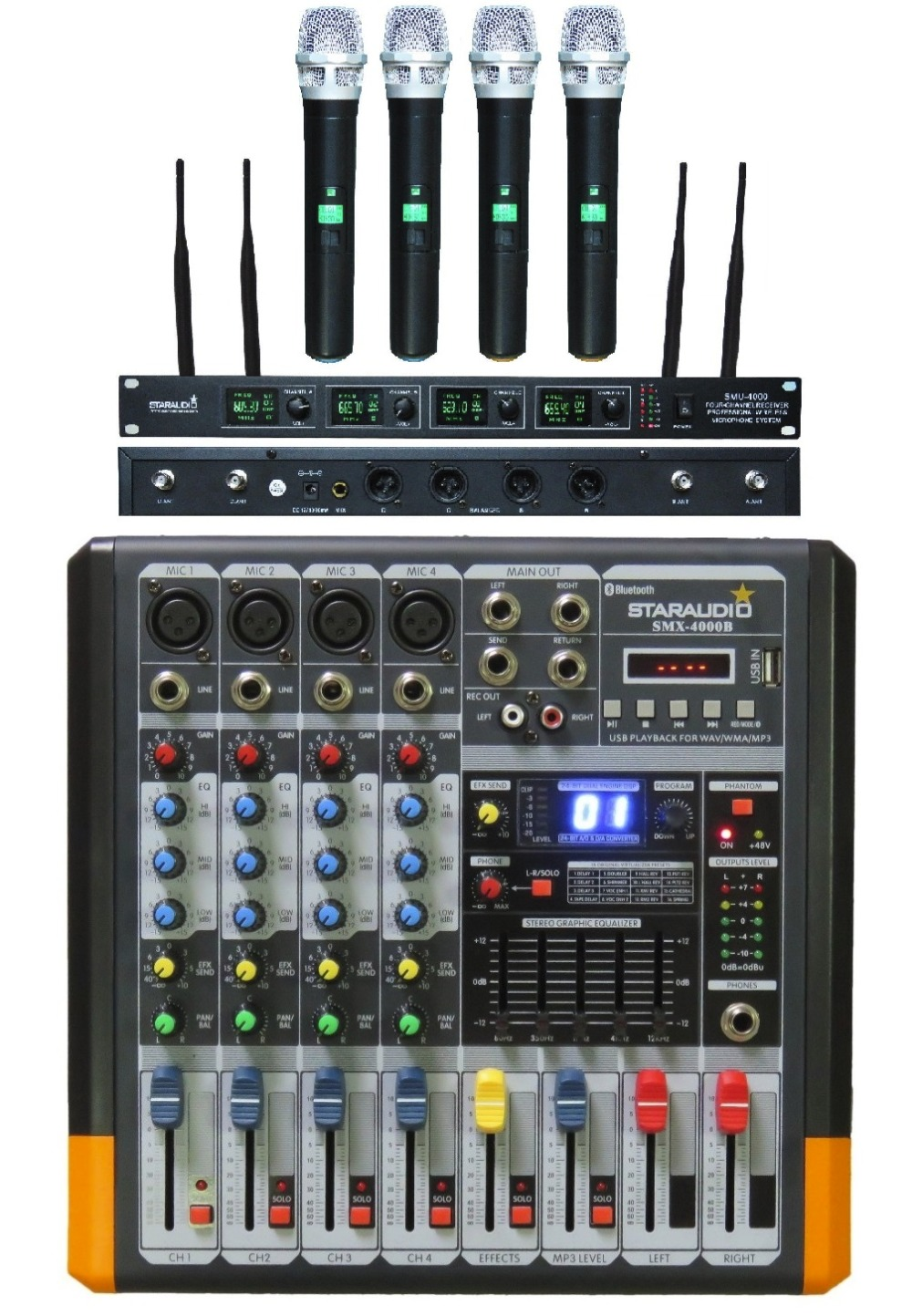 STARAUDIO  Pro 4CH Powered Mixing Console PA DJ Audio Amplifier Mixer with 4CH UHF Handheld Microphone  SMX-4000B touchstone teacher s edition 4 with audio cd