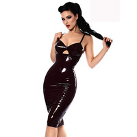 Sexy Black Leather Latex PVC Women Club Dress Ladies Spaghetti Strap Bondage Bodycon Catsuit Outfits Wetlook Clubwear XXL