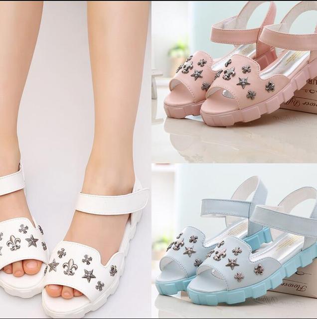 Das 2016 novas Crianças Sandálias Sapatos de Verão Para As Meninas 2015 Princesa Da Praia Shoesr Rebites Sandalias Peep Toes KY1089