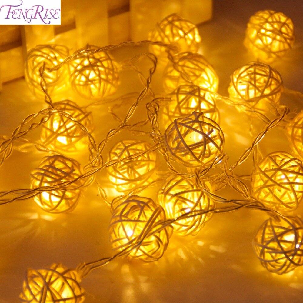 FENGRISE 2 м 20 светодиодный ротанг Ball Строка сказочных огней ватным тампоном строку света Свадебные украшения вечерние сувениры День Святого Ва... ...