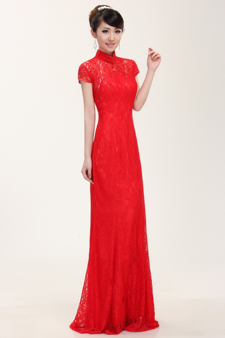 df5bc178ff Free Shipping Fancy Red Lace Evening Gown Floor Length Prom Party  Homecoming Cheongsam Long Dress Formal Wear Plus Size SD126-in Evening  Dresses from ...