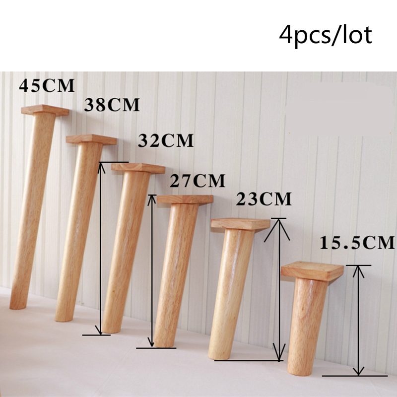 4pcs/lot Solid Wood Household Sofa Leg Furniture Support Foot Oak Wooden Cabinet Table Heighten Stand Multipurpose Stool Feet