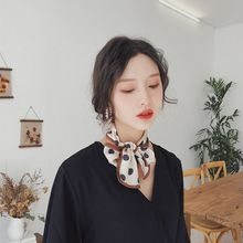 Women Imitation Silk Double-Sided Print Scarf Contrast Color Vintage Polka Dot Neckerchief Hairband Narrow Strip Tie Bag Ribbons цена