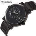 relogio masculino WOONUN Famous Brand Logo Outdoor Sports Waterproof Shockproof Watches Men Black Steel Quartz Dual Time Watch