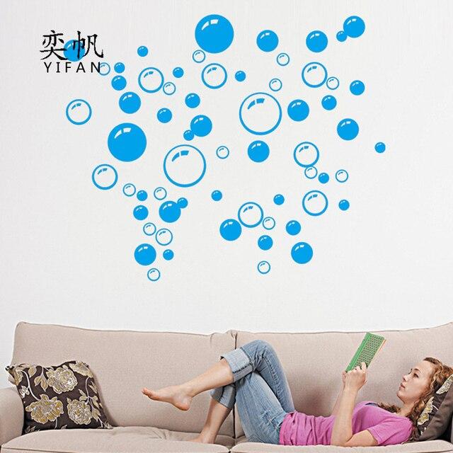 Blauwe Bellen Cirkel Verwijderbare Muur Behang Badkamer Raam Sticker ...