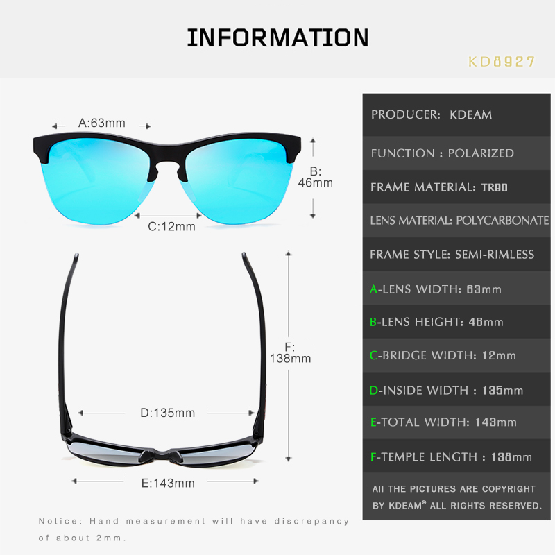 Rimless TR90 Frame Polarized Sunglasses Men Sport Eyewear Reflective Coating Lens Women zonnebril KDEAM UV400 With Case KD8927 in Men 39 s Sunglasses from Apparel Accessories