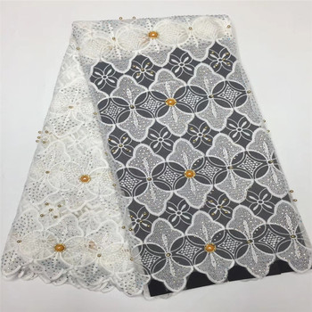 X121-10 White Allover Rhinestones Design African Wedding Lace Embroidered Nigeria Net Lace Fabric