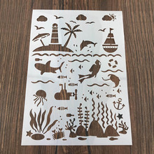 Ocean World Sticker Painting Stencils for Diy Scrapbooking Stamps Home Decor Paper Card Template Cake Decoration Album Crafts merry christmas trees sticker painting stencils for diy scrapbooking stamps home decor paper card template decoration album