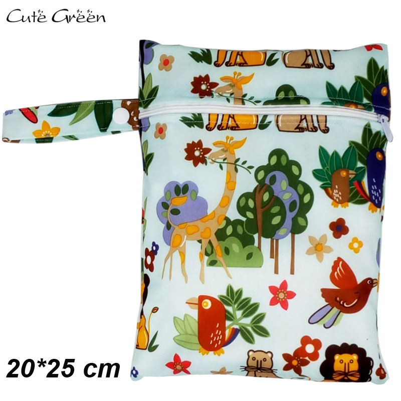 1PC 20*25cm Wet Dry Bag Waterproof PUL Single Pocket Mini Bags For Nusing Pad Menstrual Pad Reusable Cloth Nappy Diaper Wet Bag