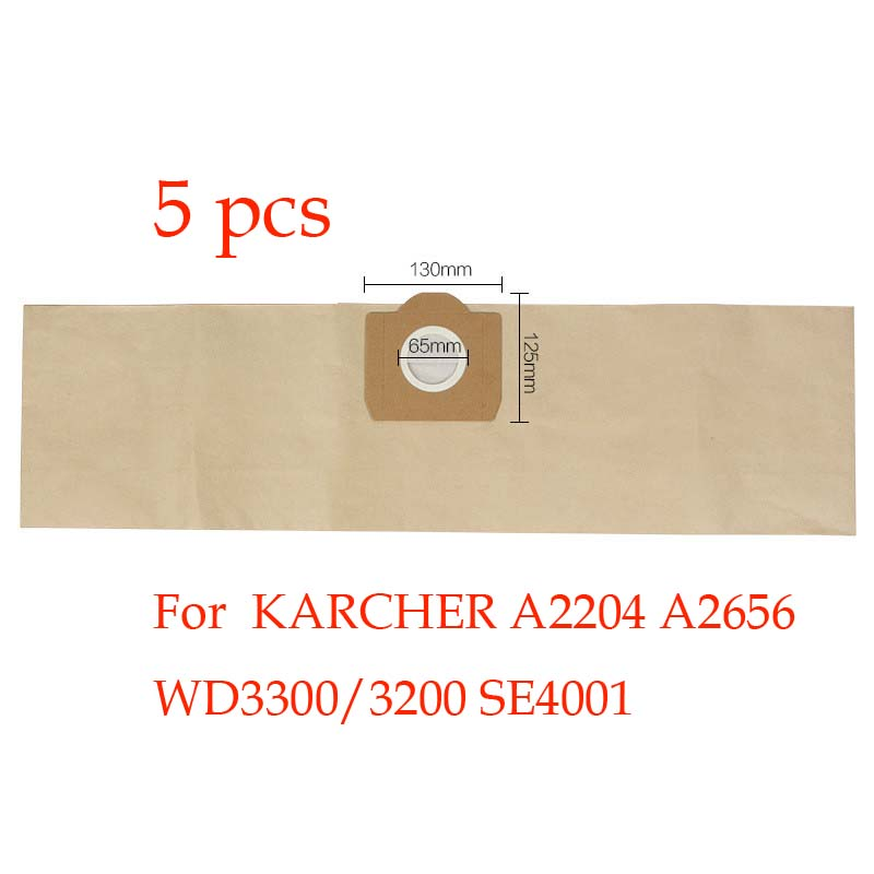 5pcs Replacement KARCHER vacuum cleaner A2204 A2656 WD3300/3200 SE4001 dust bag vacuum cleaner bag paper bag 5pcs vacuum dust filter bag for karcher a2204 a2656 wd3300 wd3200 se4001 dust collection paper bags