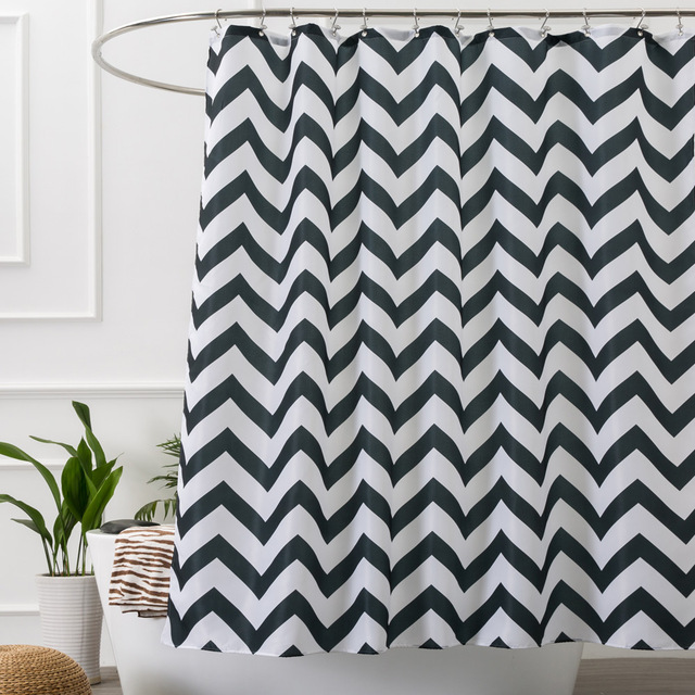 Aimjerry Black And White Striped Fabric Bathtub Shower Curtain Curtains Liner With 12 Hooks Waterproof