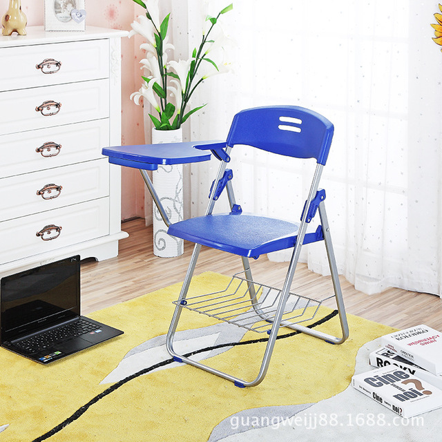 4 pçs/lote multiuso de Plástico Dobrável Cadeira de Escritório Cadeira Com Placa de Escrita Estudante Computador Cadeira Da Conferência de Treinamento de Pessoal