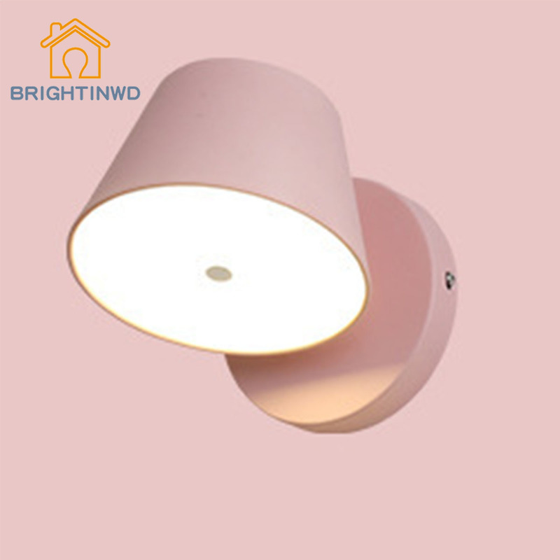 BRIGHTINWD Nordic Modern Minimalist Bedside Wall Lamp Rotatable LED Bedroom Lamps Creative Interior Macaron Living Room Aisle modern minimalist 9w led acrylic circular wall lights white living room bedroom bedside aisle creative ceiling lamp