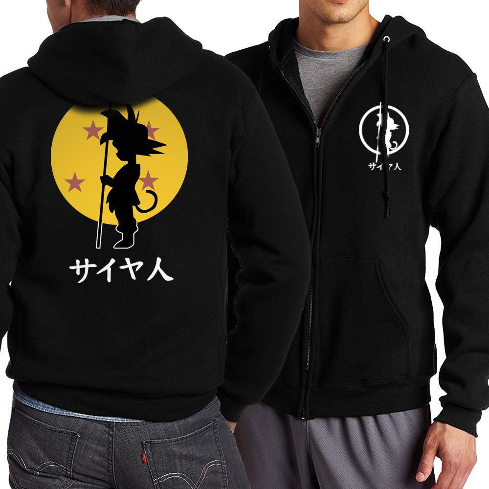 Dragon Ball Z Monkey King Zipper Pullover Casual Coat Anime Sweatshirts Japanese Streetwear Black Hoodie Fashion Brand Tracksuit