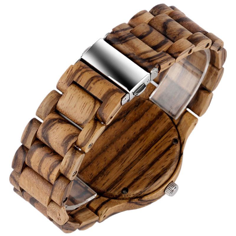 Kūrybinis medinis laikrodis vyrams bambuko kvarco minimalistinis - Vyriški laikrodžiai - Nuotrauka 5