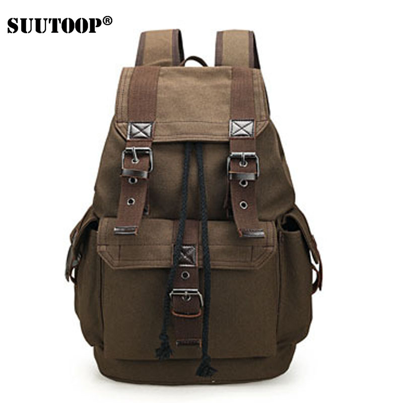 Canvas Backpack Vintage Student School Teenagers Laptop Bag Rucksack Travel Large Daypack