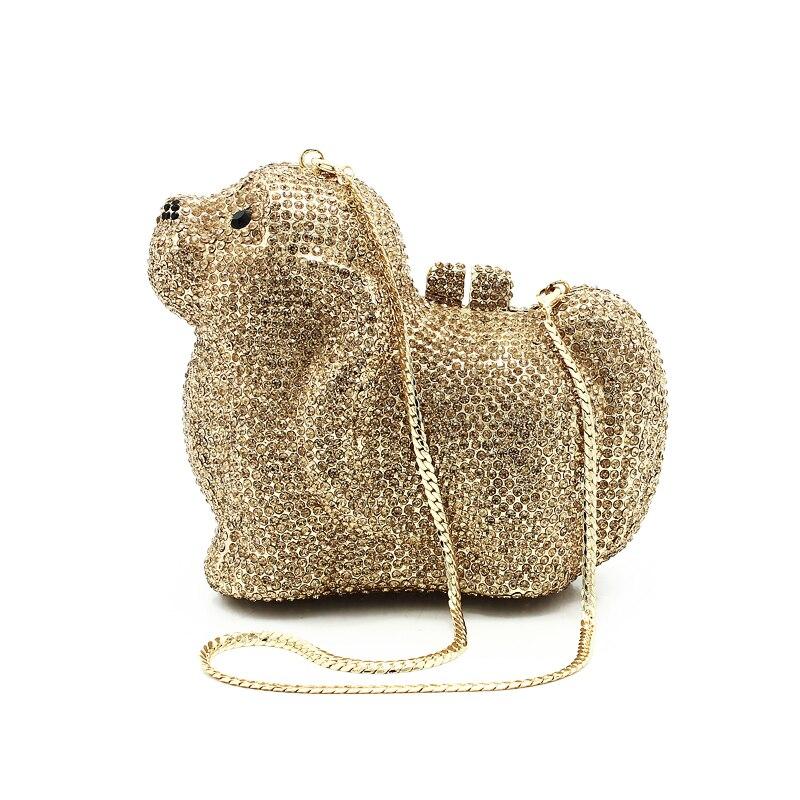 Gold and sliver Colors Ladies Clutch Evening Bags Women Crystal Pet Dog Handbag Wedding Diamond Clutches Purse(87152A-G) цена