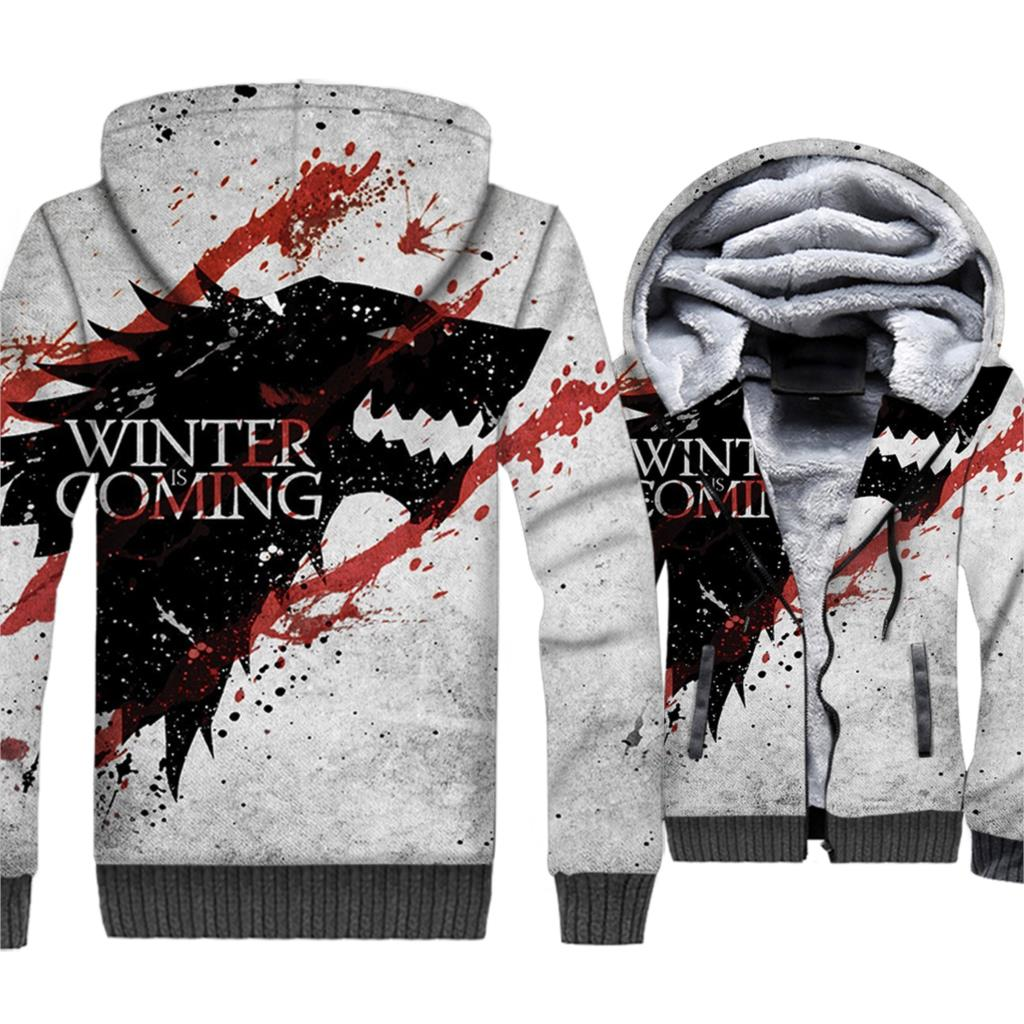 Game Of Thrones Jacket For Men 2019 Brand Clothing 3D Hoodies Streetwear Men 39 s Thick Coat Hip Hop Unisex Zipper Tracksuits Coats in Hoodies amp Sweatshirts from Men 39 s Clothing