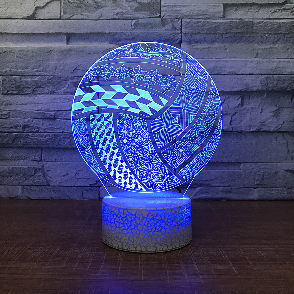 Smart Creative Visual 3d Led Abstract Volleyball Modeling Light Fixture Bedside Sleep Desk Lamp Novelty Sports Goods Night Light Gifts Lights & Lighting