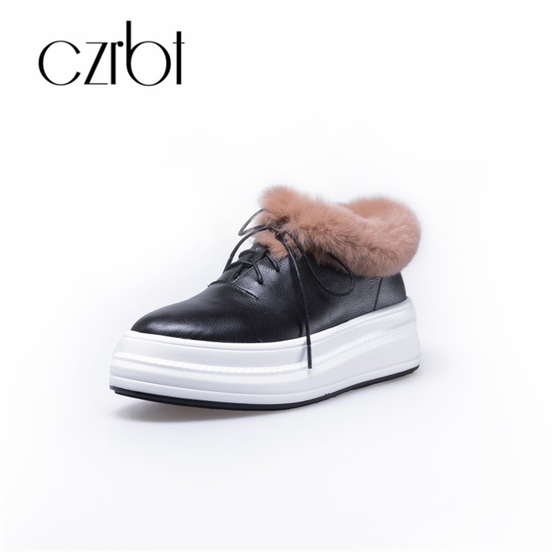 czrbt 2018 New Winter Shoes Women Fashion Rabbit Hair Keep Warm Flat Snow Boots Casual Lace-Up Non-Slip Ankle Boots For Women hot sale winter new men winter snow boots brand outdoor keep warm fashion casual shoes ankle lace up non slip man cotton shoes