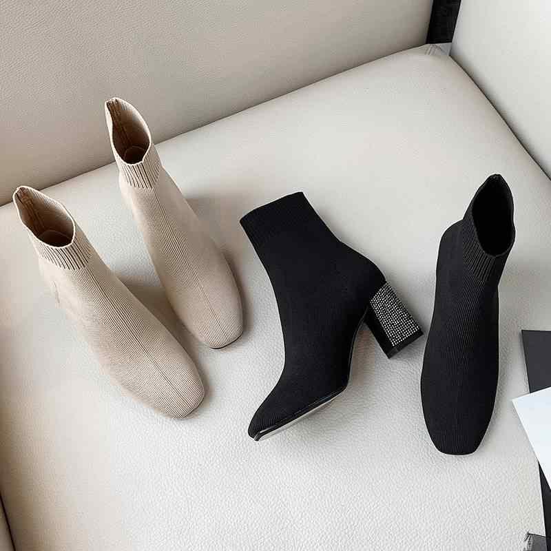 Yeni superstar kayma kare toe kristal yüksek topuklu kadın orta buzağı botları pist streç örgü botları sıcak tutmak kış ayakkabı L09