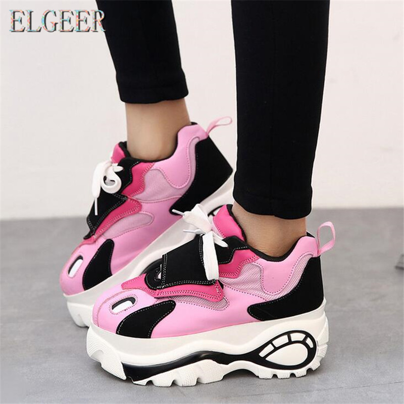 ELGEER Frauen Schuhe Turnschuhe Wohnungen Zapatillas Deportivas Frau Creepers Beiläufige Schuhe Zunehmende Ferse Zapatos Mujer Flache Plattform