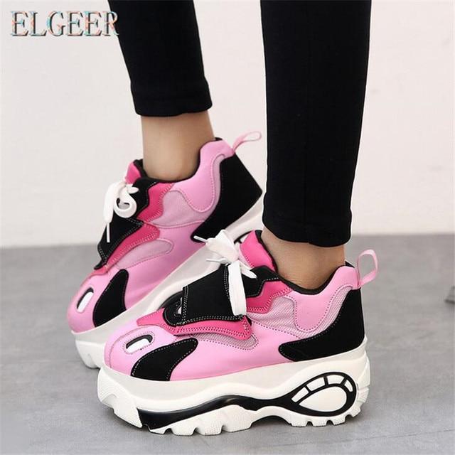 ELGEER/Женская обувь, кроссовки на плоской подошве, Zapatillas Deportivas, женская обувь на толстой мягкой подошве, повседневная обувь, увеличенный каблук, zapatos mujer, плоская платформа