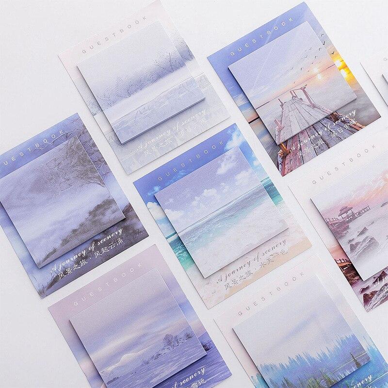 Kreative Landschaft Reise Memo Pad Sticky Notes Memo Notizblock Label Werkzeuge Briefpapier Hinweis Papier Aufkleber Büro Schule Liefert