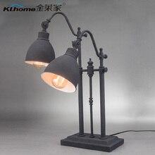 Американский чердак стиле из кованого железа настольная лампа урожай двойной слайдер дым цвет исследование свет H620MM бесплатная доставка