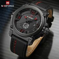Mens Watches NAVIFORCE Top Luxury Brand Men Leather Analog Quartz Date Clock Man Waterproof Sports Army